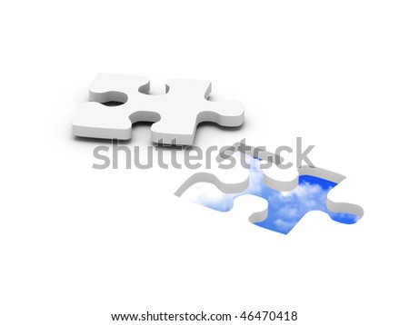blue sky jigsaw puzzle. Part of puzzle with blue sky in hole. High quality 3d render. - stock photo