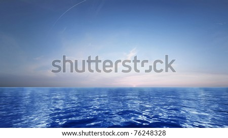 Blue sky leaving for horizon above a blue surface of the sea - stock photo