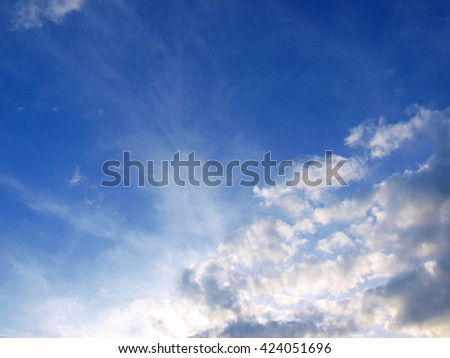 blue sky, mist clouds