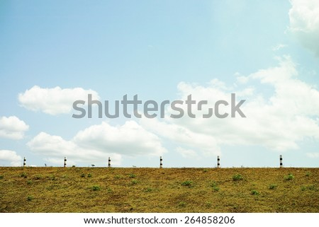 blue sky on the road side view - stock photo