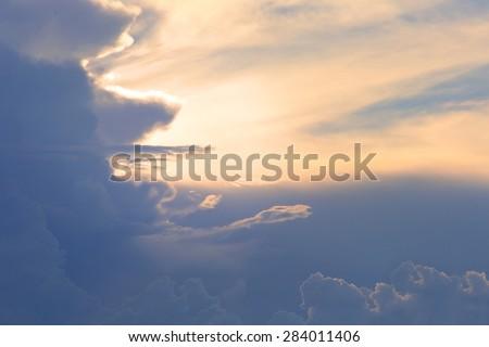 blue sky on twilight sunset . - stock photo