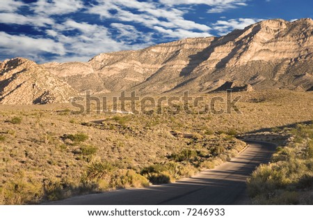 Blue Sky over Red Rock Canyon, Nevada - stock photo