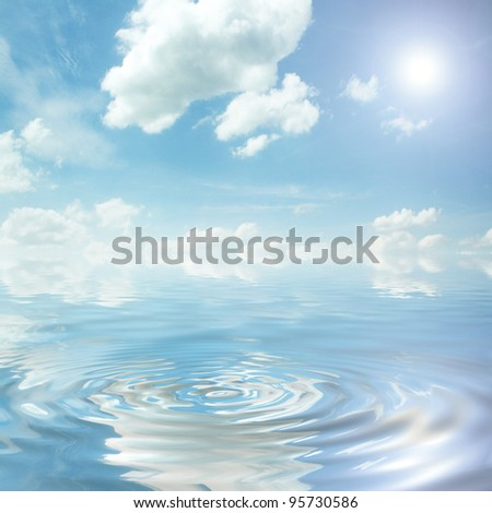 blue sky over the ocean - stock photo