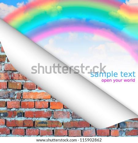 blue sky rainbow vintage brick wall background  postcard. - stock photo