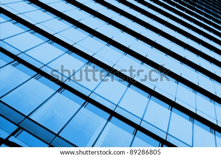 Blue sky reflecting facades