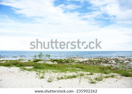Blue Sky, Sunny Day, Beautiful Chintheche Beach, Lake Malawi, Africa - stock photo