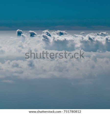 blue sky sunny landscape with fluffy clouds