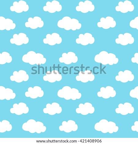 blue sky white clouds pattern seamless raster copy. - stock photo