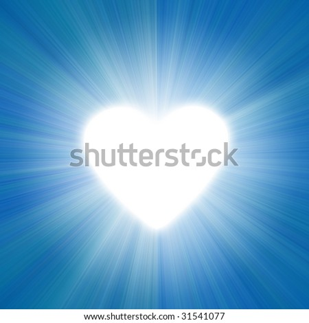 blue sky with a glow of white light heart shape - stock photo
