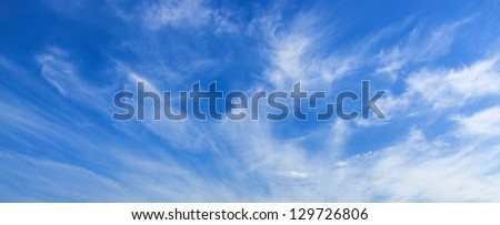 blue sky with cirrus clouds - stock photo