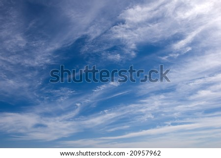 blue sky with Cirrus intortus - stock photo