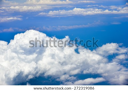 Blue sky with cloud closeup. - stock photo