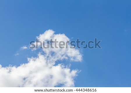 Blue sky with cloud closeup and bright sun.