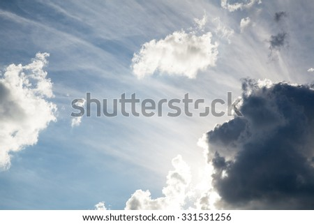 blue sky with cloud closeup.Nature, Religion - stock photo