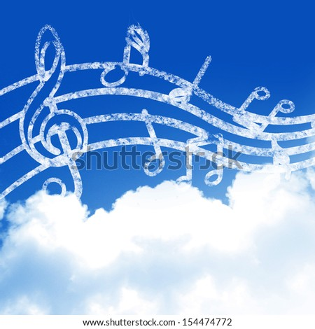 blue sky with clouds and some music notes - stock photo
