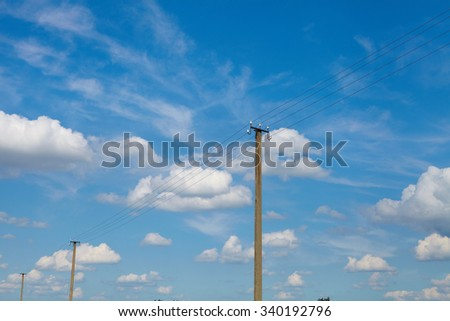 Blue sky with clouds and sun. Energy