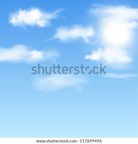 Blue sky with clouds and sun. Illustration.