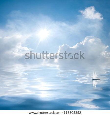 Blue sky with clouds and sun reflection in water; small yacht floats on the quiet sea - stock photo