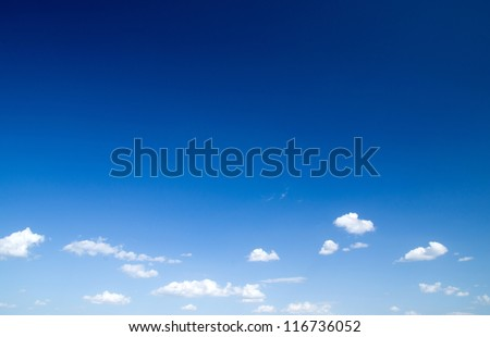 blue sky with clouds closeup - stock photo