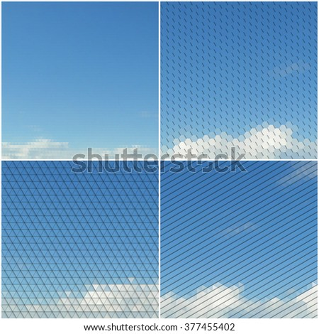 Blue sky with clouds. Collection of abstract multicolored backgrounds. Natural geometrical patterns. Triangular and hexagonal style illustration.