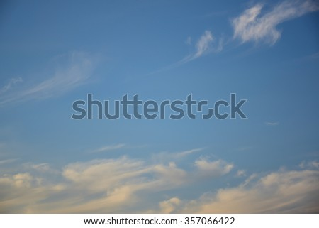 Blue sky with clouds in winter season