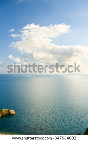 Blue sky with clouds over sea. Nature composition. - stock photo