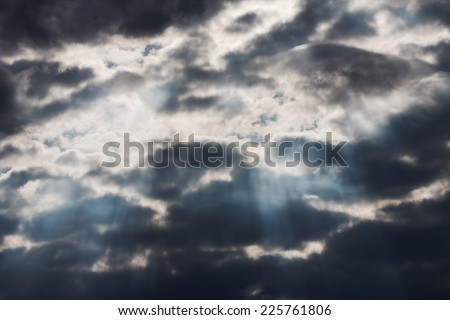 blue sky with clouds, sunset - stock photo