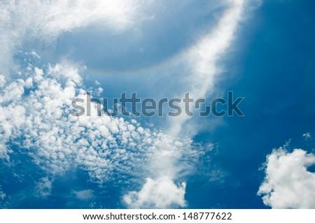 blue sky with corona - stock photo