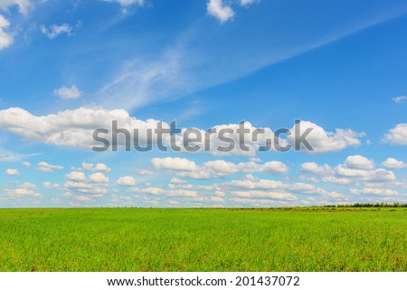Blue sky with cumulus clouds over the plain - stock photo