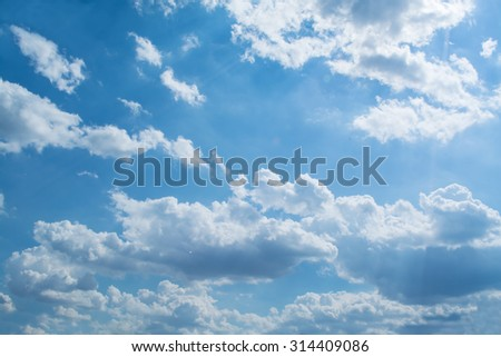 Blue sky with curly clouds