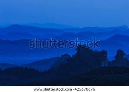 Blue sky with mountains, landscape of nature. Blue background . - stock photo
