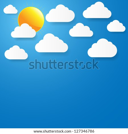 Blue sky with paper clouds and sun. Illustration.