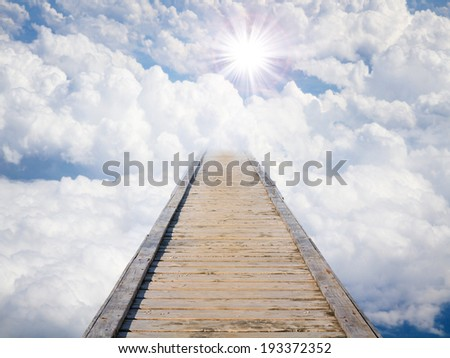 Blue sky with sun and beautiful clouds. Stairs in sky, the road to heaven  - stock photo