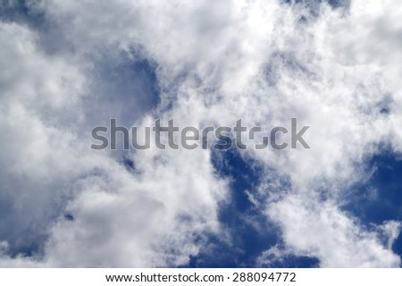 Blue sky with sunlight clouds at sun windy day - stock photo