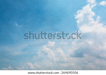 blue sky with white cloud Grunge style - stock photo