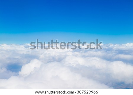 Blue sky with white clouds, aerial photography - stock photo