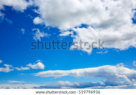 Blue sky with white clouds in a sunny summer day