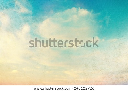 Blue sky with white clouds in grunge style