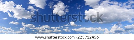 blue sky with white clouds panorama