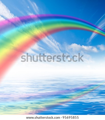 Blue sky with white clouds with rainbow - stock photo