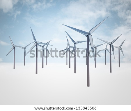 blue sky with windmill generators field illustrations