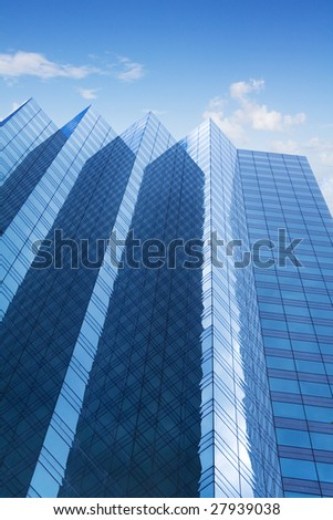 Blue skyscraper perspective
