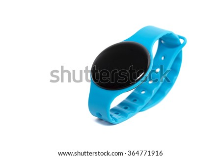 Blue smart watch close up isolated on white background - stock photo