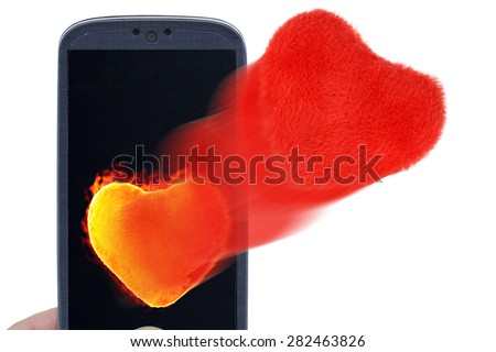 Blue smartphone and hot and soft hearts. Idea for Valentines Day messages, love, lovers, love apps, Internet, blogs and others. - stock photo