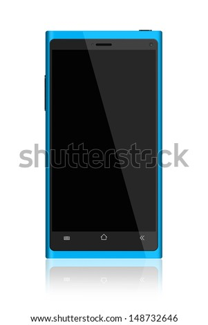 Blue Smartphone on White Background - stock photo
