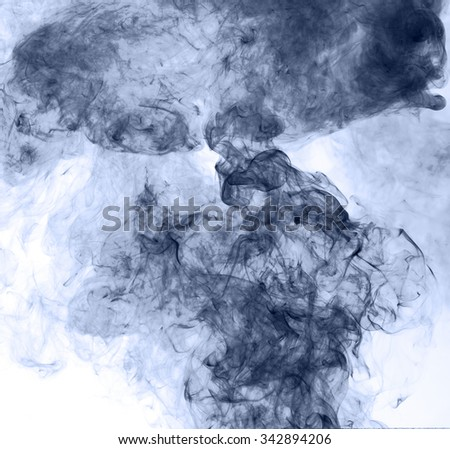 blue smoke on a white background. inversion - stock photo