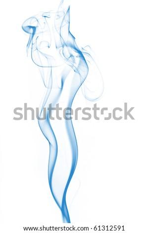 Blue Smoke on white - stock photo
