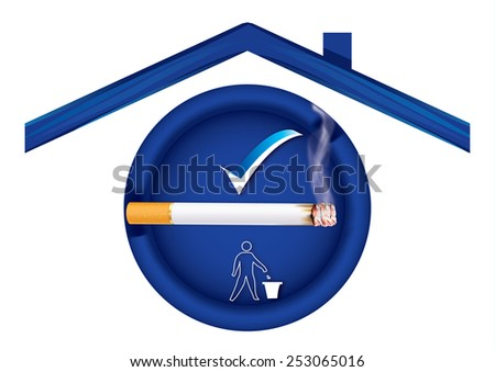 Blue Smoking allowed sticker for print, containing a realistic cigarette under a roof sign and a sign with a basket trash can for keeping the environment clean. Print colors used - stock photo