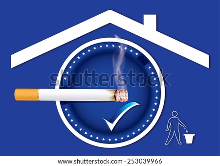 Blue Smoking allowed sticker for print. Smoking allowed sign containing a realistic cigarette under a roof sign and a sign with a basket trash can for keeping the environment clean. Print colors used - stock photo