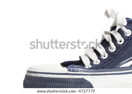Blue sneaker  isolated on white - stock photo